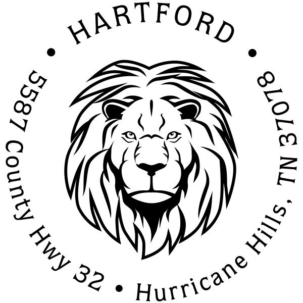 Lion Head Return Address Stamp