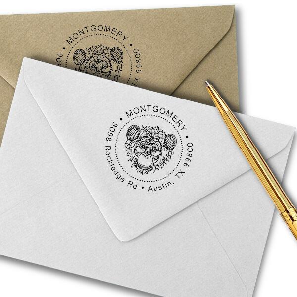 Funky Monkey Head Return Address Stamp Imprint Example