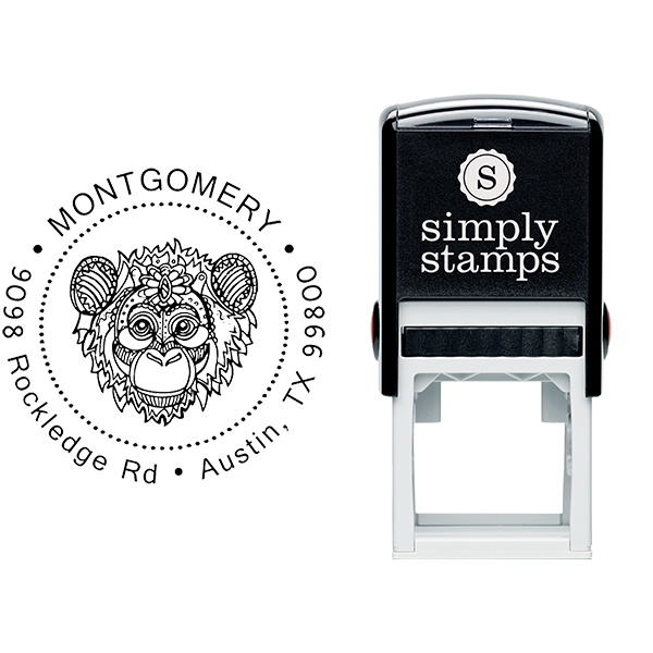 Funky Monkey Head Return Address Stamp Body and Design