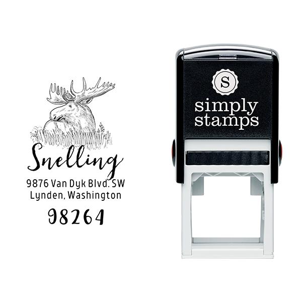 Moose Return Address Stamp Body and Design