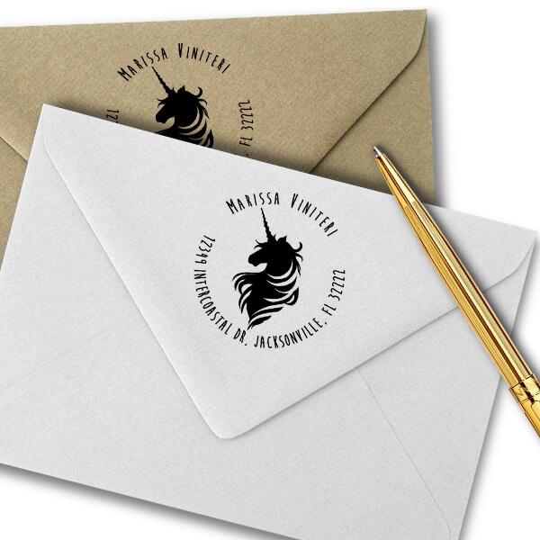 Magical Unicorn Round Return Address Stamp Imprint Example