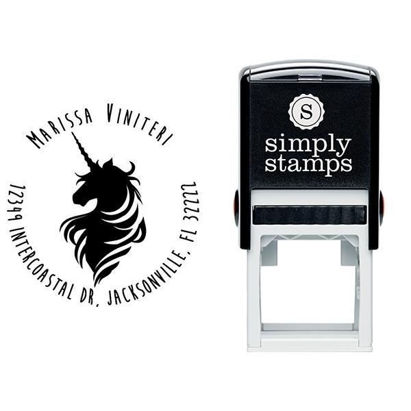 Magical Unicorn Round Return Address Stamp Body and Design