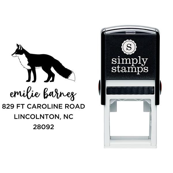 Red Fox Custom Animal Return Address Stamp Body and Design
