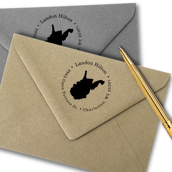 West Virginia Round Address Stamp Imprint Example