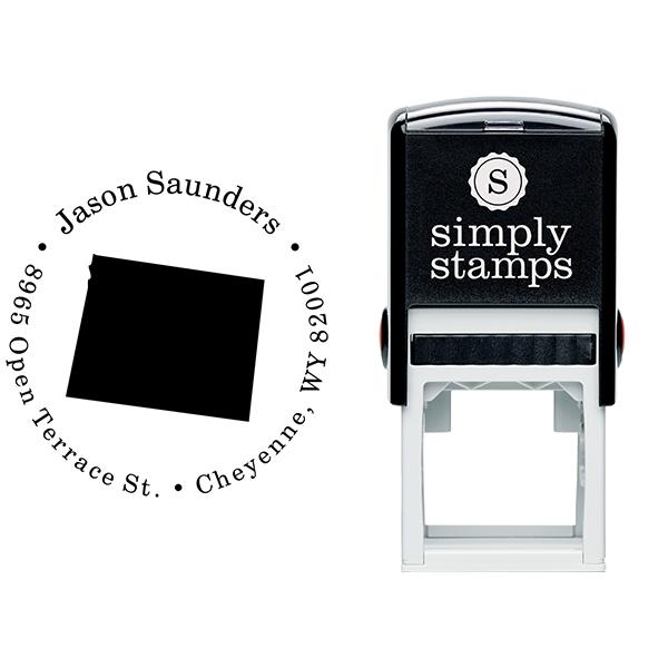 Wyoming Round Address Stamp Body and Design