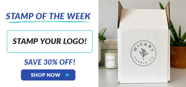 Stamp your logo, save 30% off, shop now!