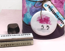 craft supply holder with custom stamp