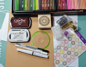 Donut craft card with rubber stamp and colored ink pads