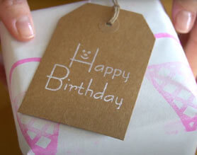 Simple stamp on happy birthday card