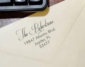 Custom address stamp impression on envelope