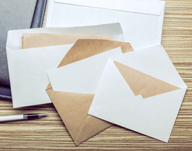 envelopes with blank letters