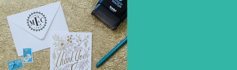 Custom self-inking address stamp impression on an envelope
