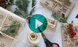 DIY wrapping paper craft with play video button